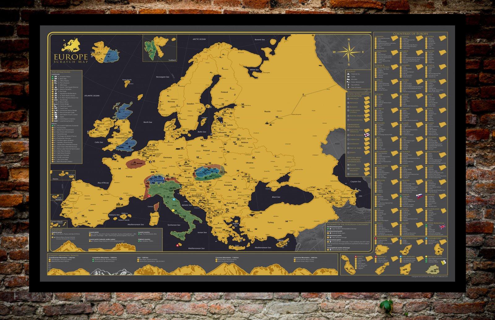 Stírací mapa Evropy - zobrazena se setřenými částmi