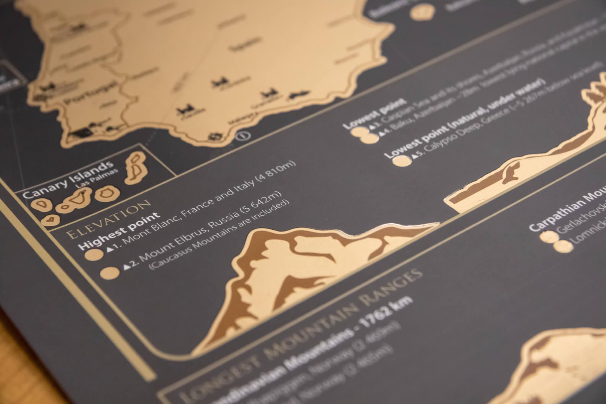 Stírací mapa Evropy - Detail výšek