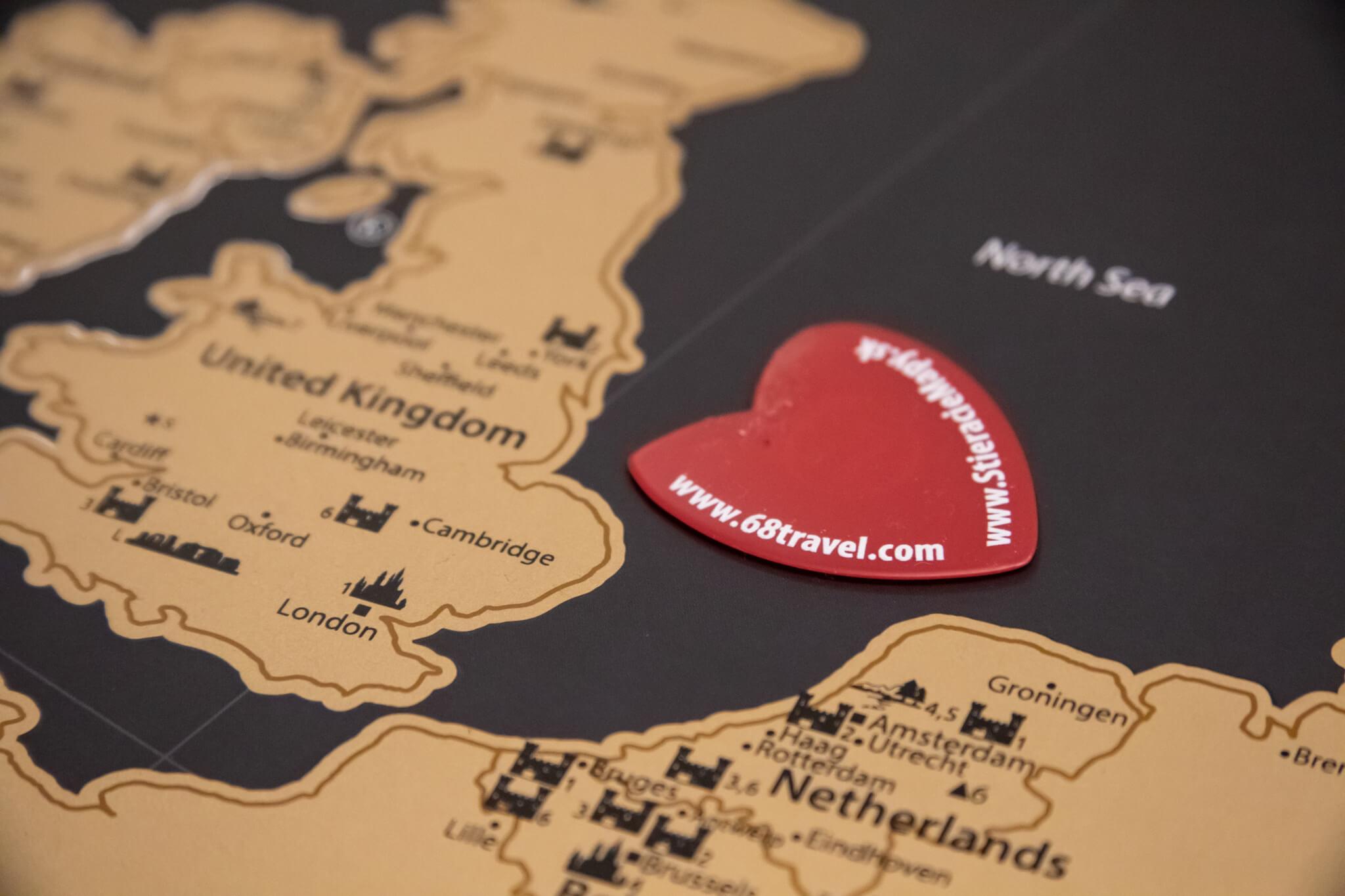 Stírací mapa Evropy - detail trsátka