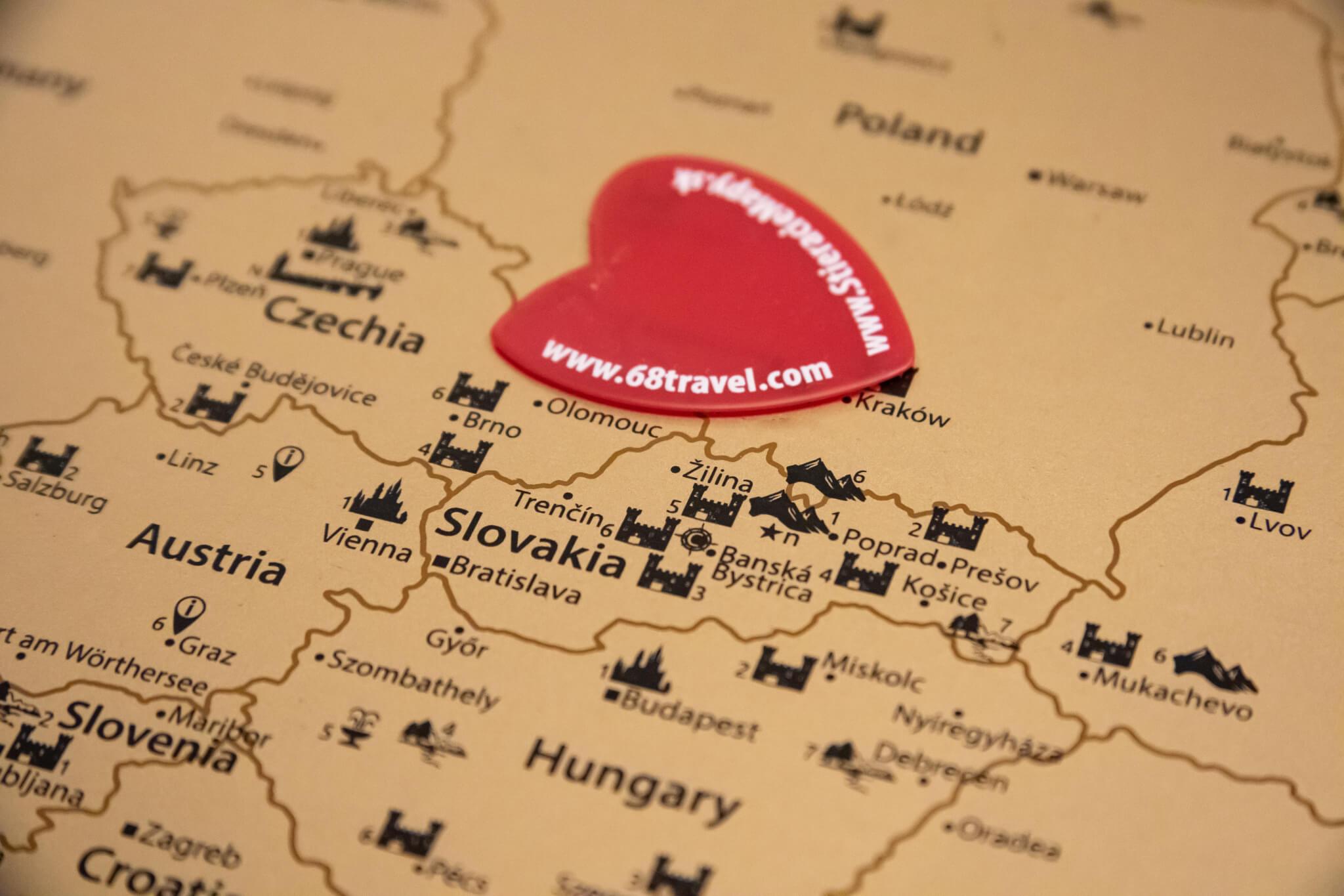 Stírací mapa Evropy - Detail střední Evropy