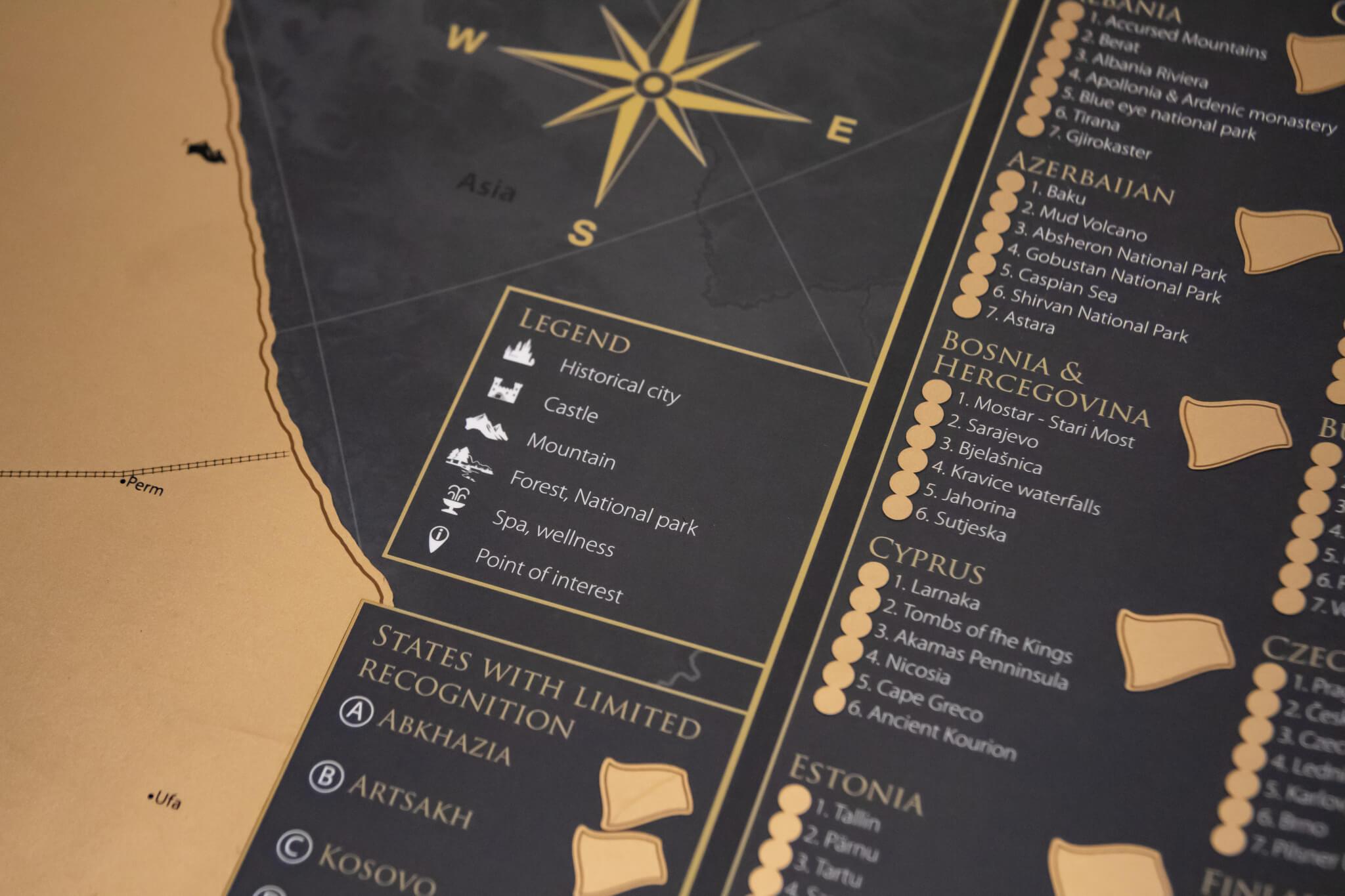 Stírací mapa Evropy - Detail legendy