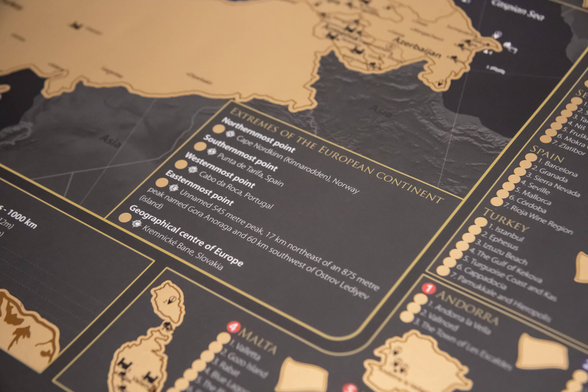 Stírací mapa Evropy - Okrajové body