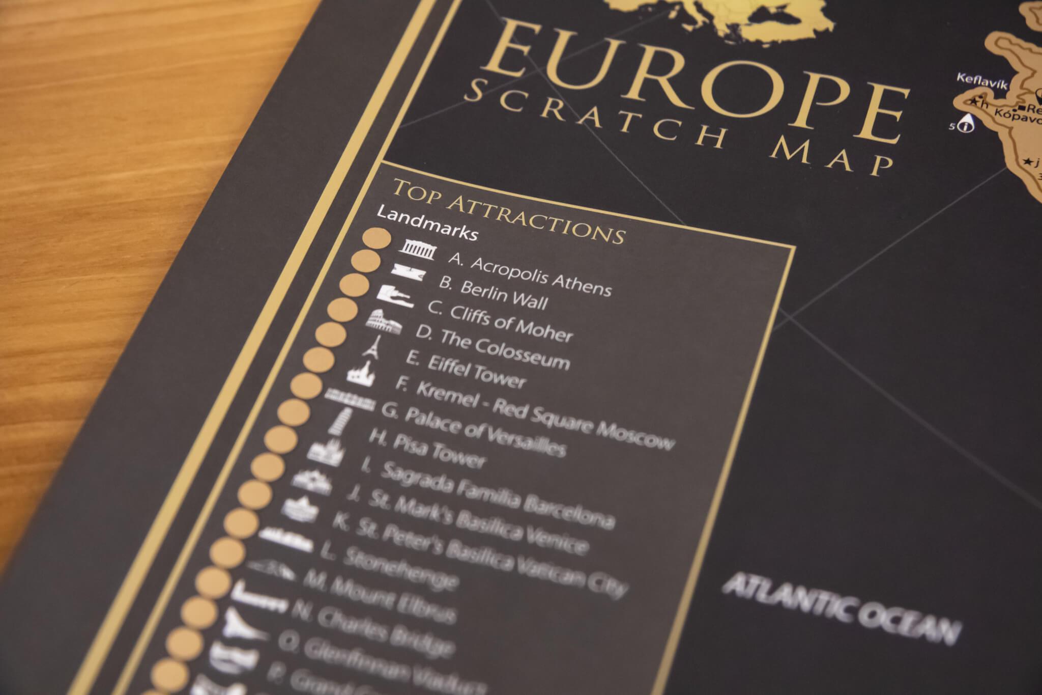 Stírací mapa Evropy - Detail top atrakcí