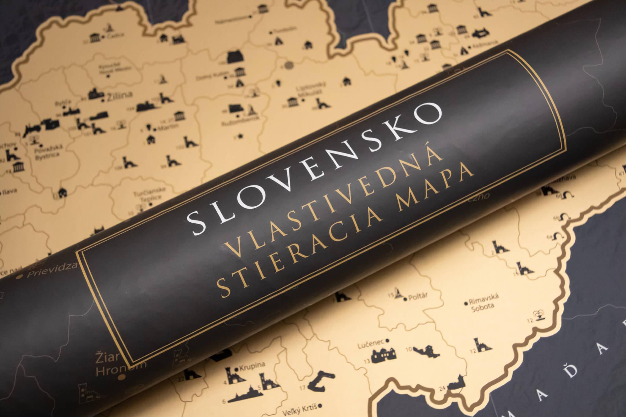 Stírací mapa Slovenska - Dárkový tubus