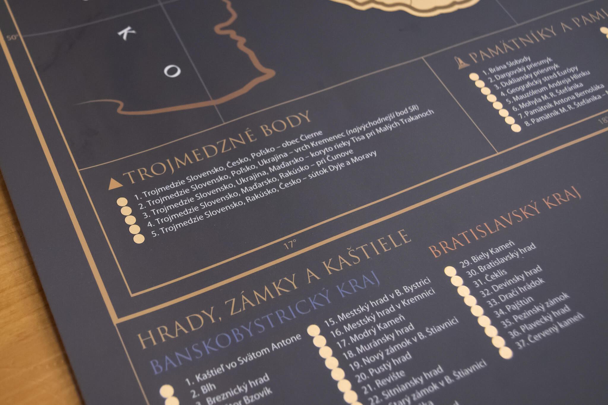Stírací mapa Slovenska - Detail sekce