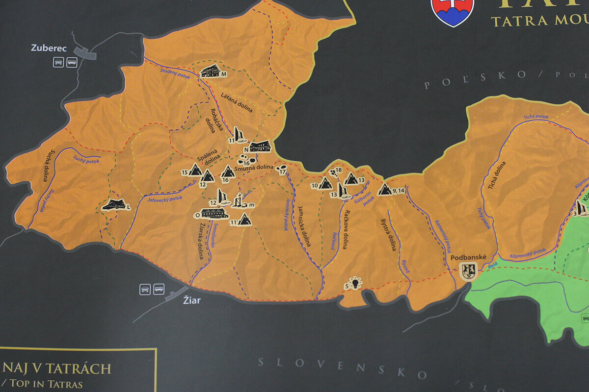 Stírací mapa Tater (A3) - detail