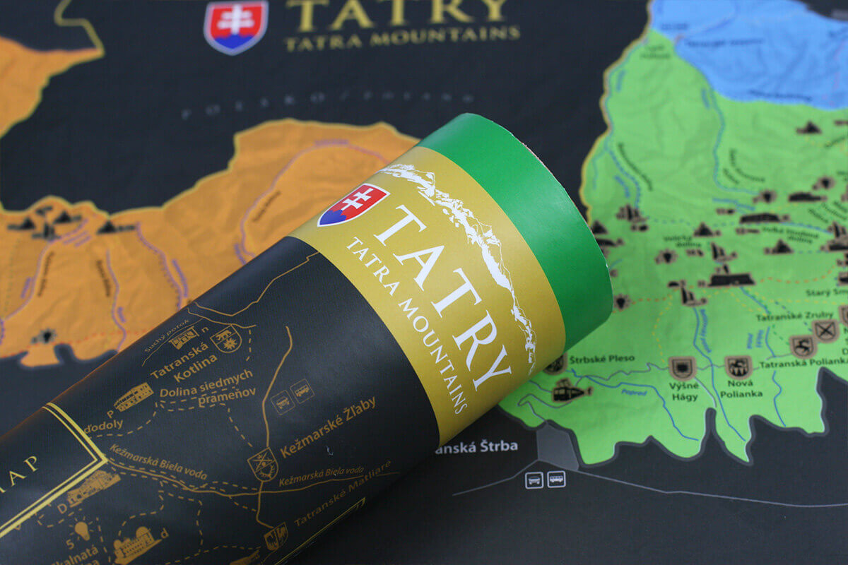 Stírací mapa Tater (A3) - detail tubusu