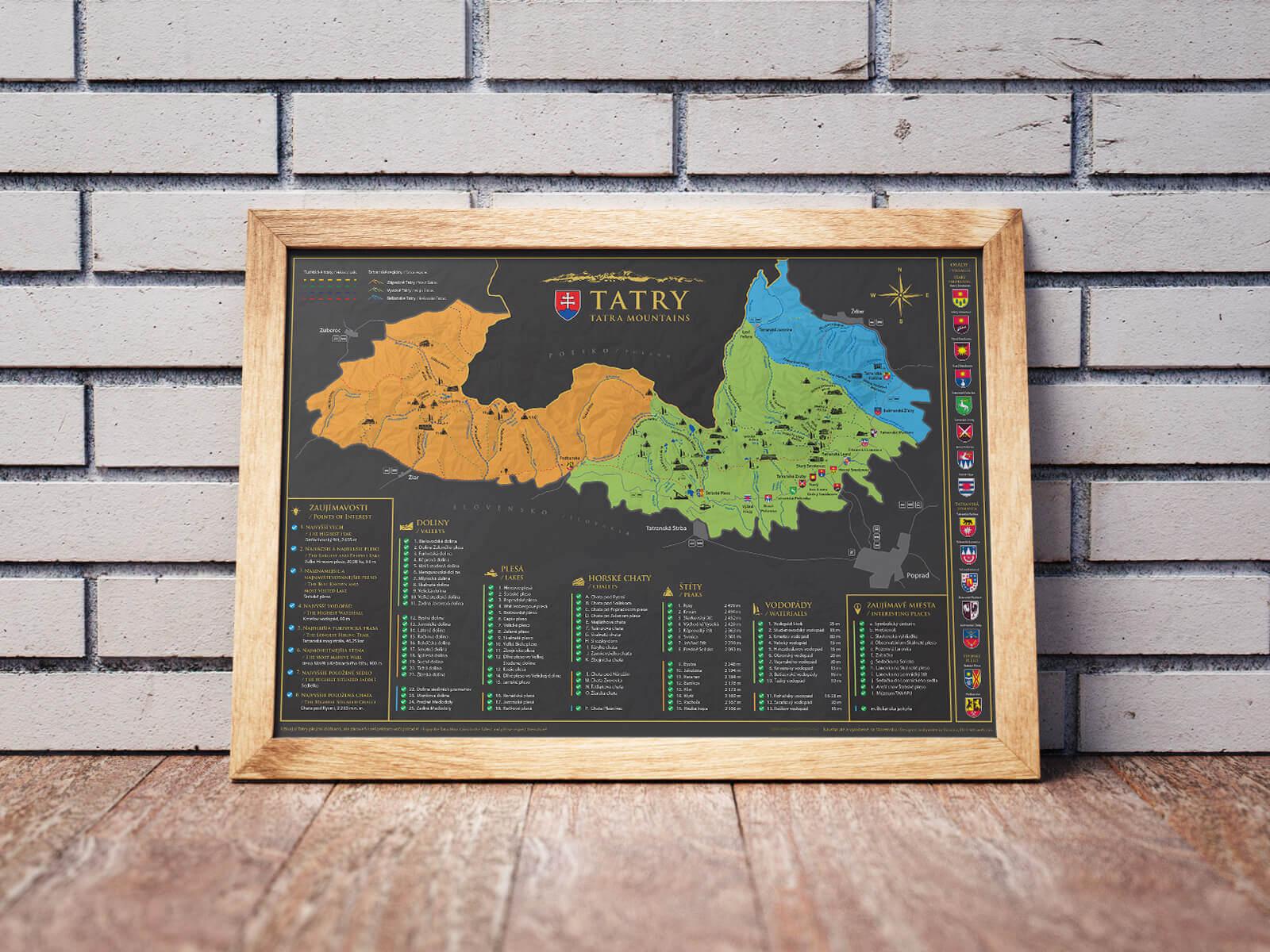 Stírací mapa Tater (A3) - mapa