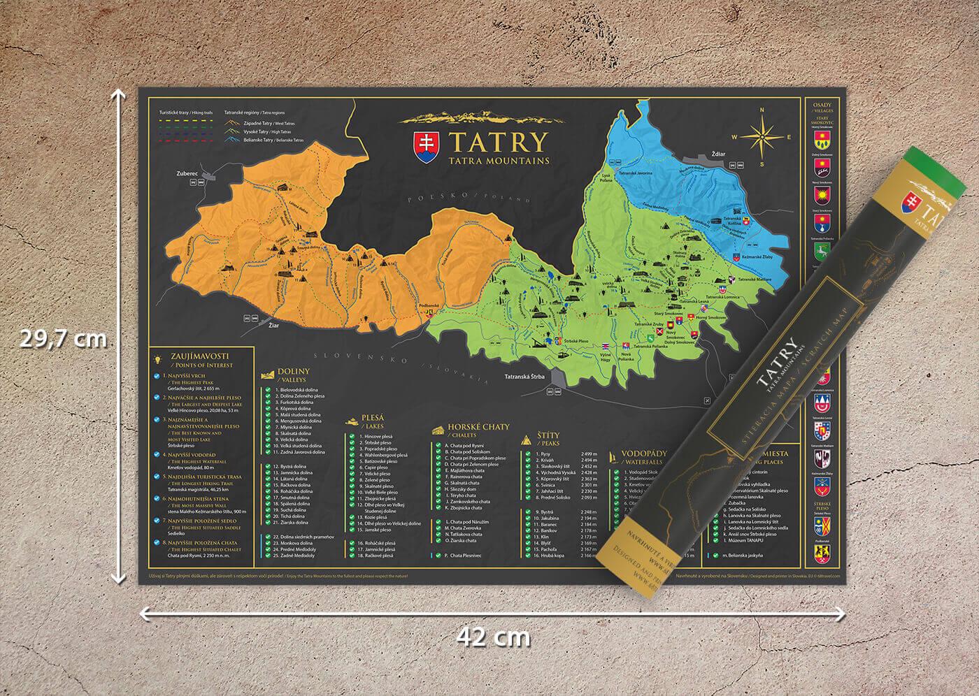 Stírací mapa Tater (A3) - s tubusem
