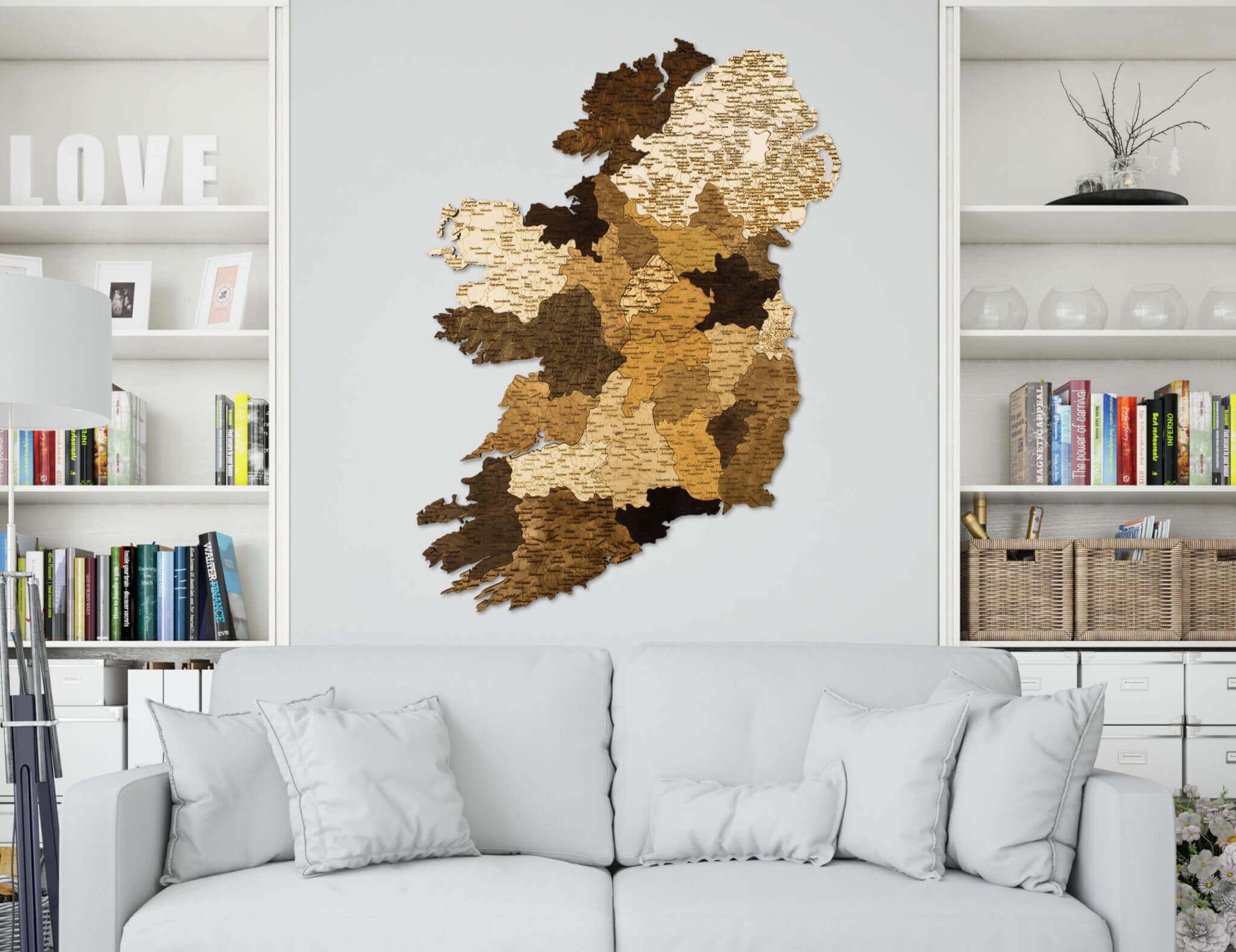 Nástěnná dřevěná mapa Irska