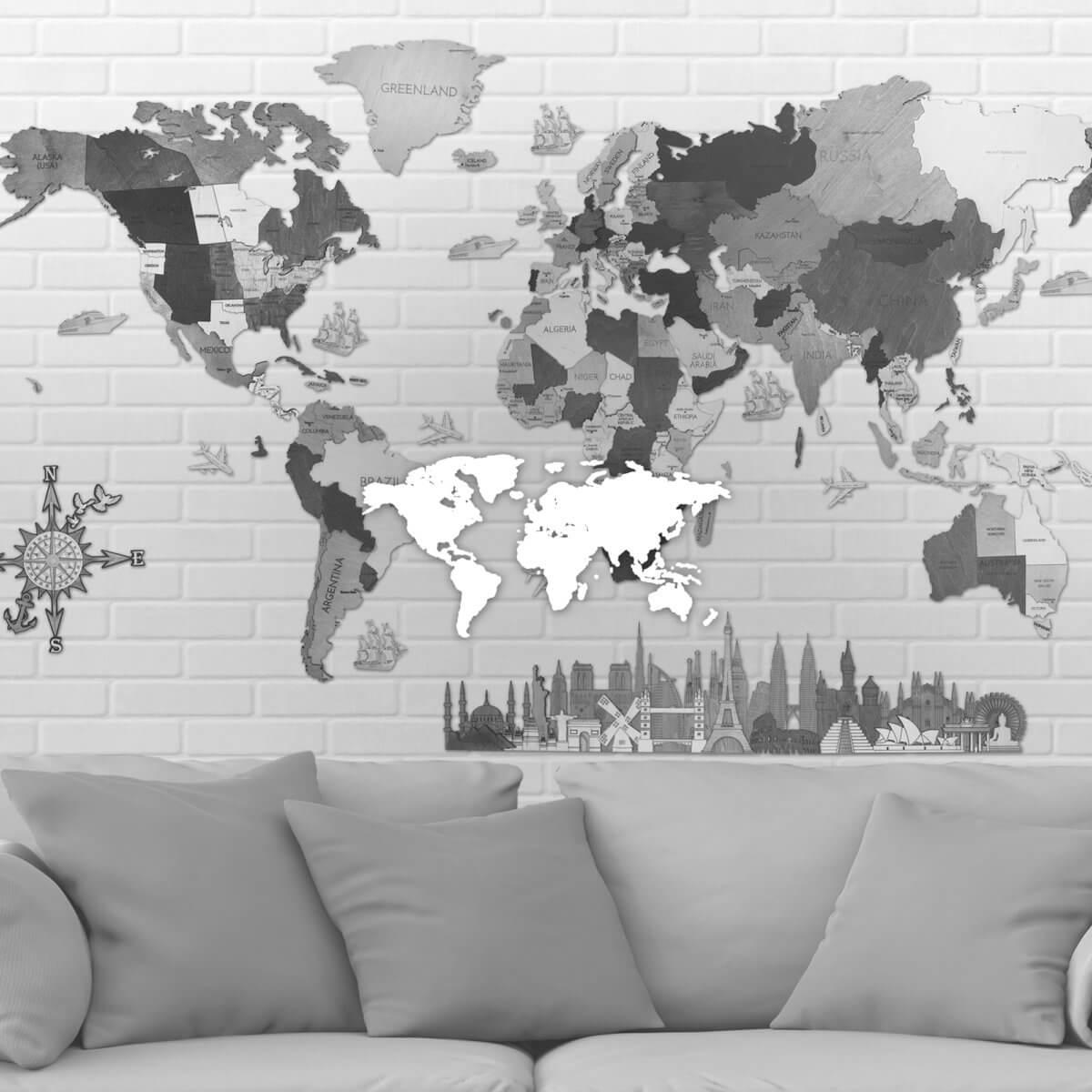 Dřevěné nástěnné mapy