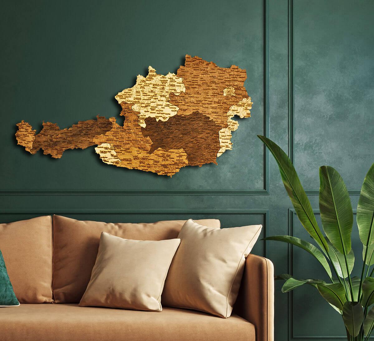 Nástěnná dřevěná mapa Rakouska