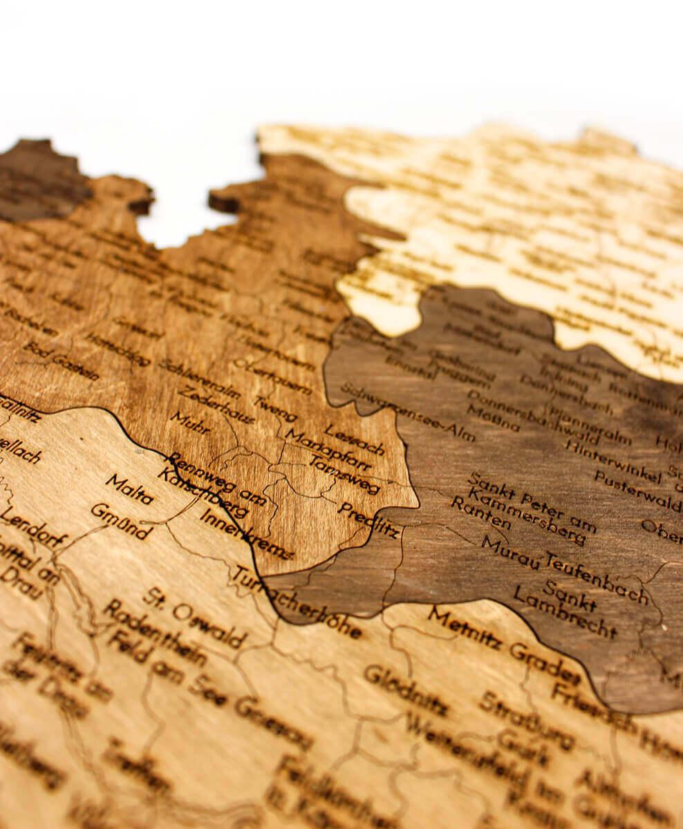 Nástěnná dřevěná mapa Rakouska - detail