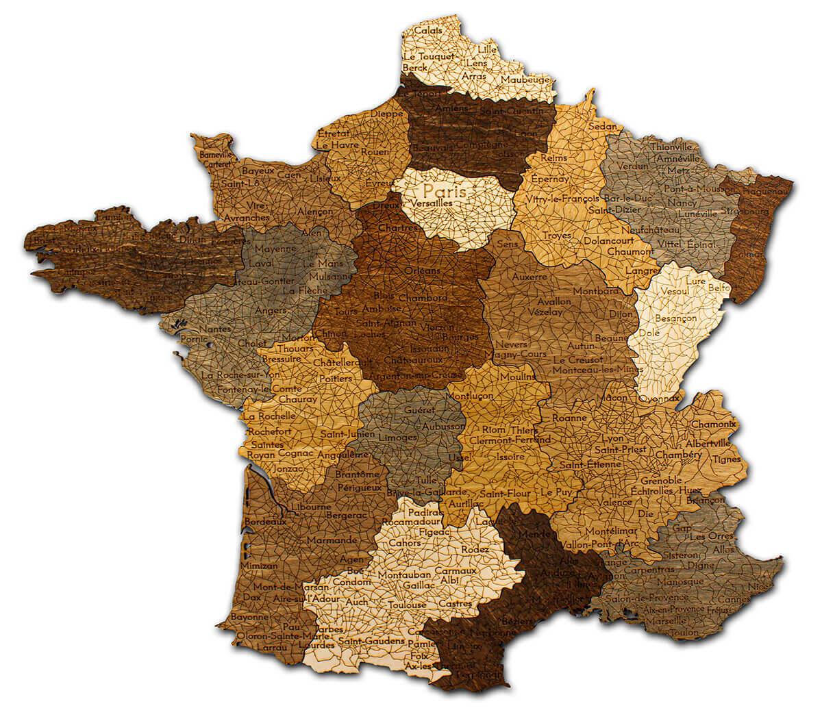 Nástěnná dřevěná mapa Francie