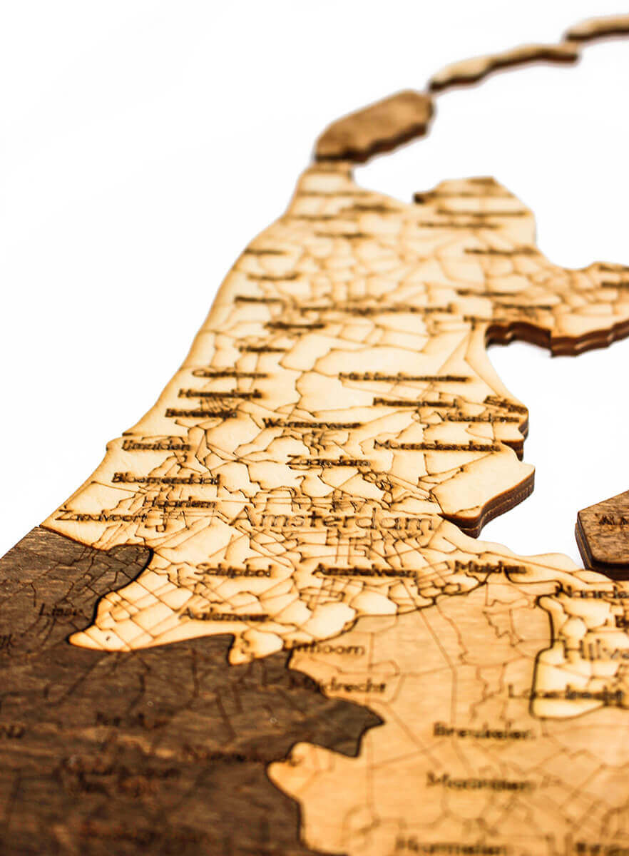 Nástěnná dřevěná mapa Nizozemska