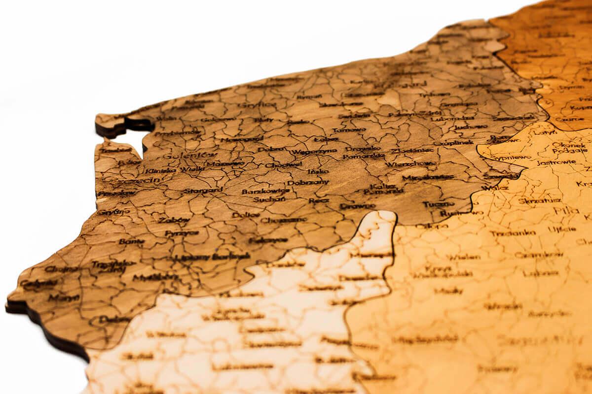 Nástěnná dřevěná mapa Polska