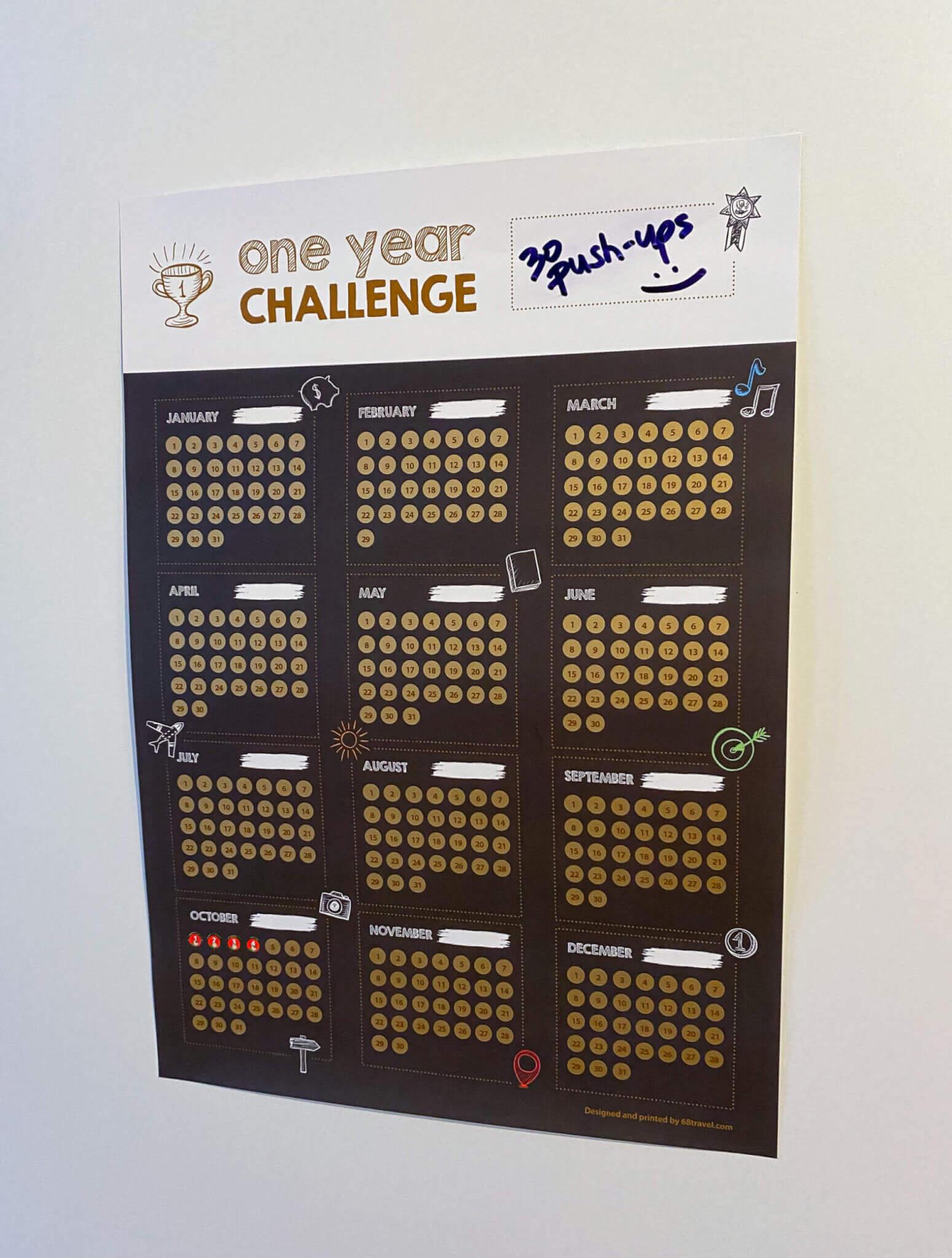 """Stírací plakát """"Roční výzva"""""""