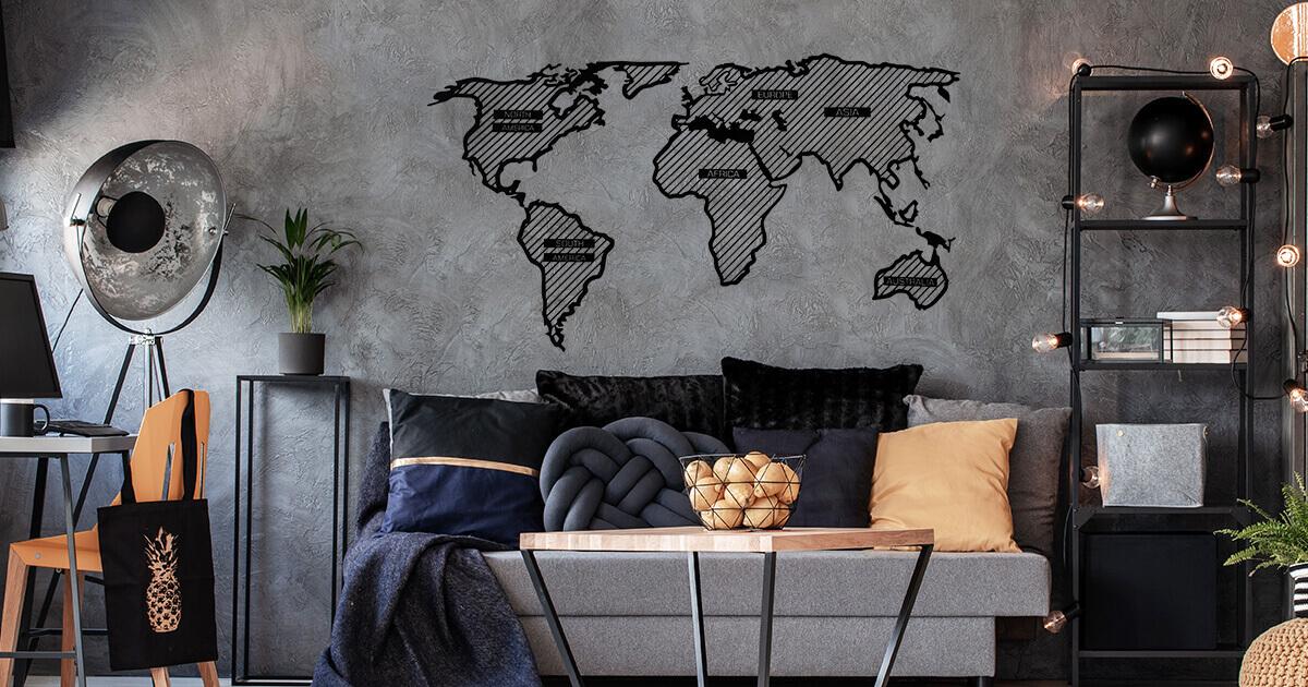 LINE dřevěná mapa světa - připevněna na stěnu