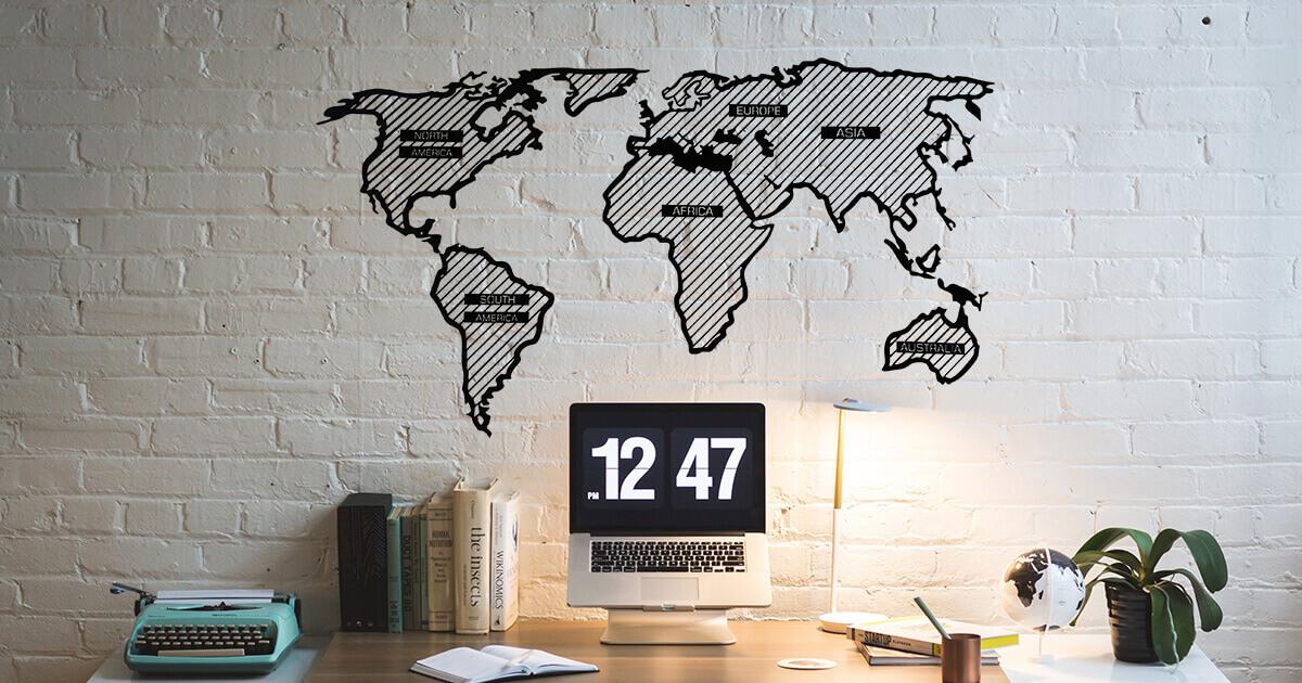 LINE dřevěná mapa světa - Adventurer