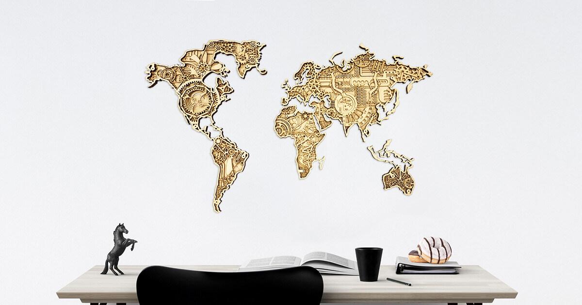 Průmyslová dřevěná mapa světa - připevněna na stěnu