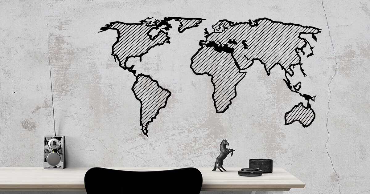 LINE dřevěná mapa světa - Traveler