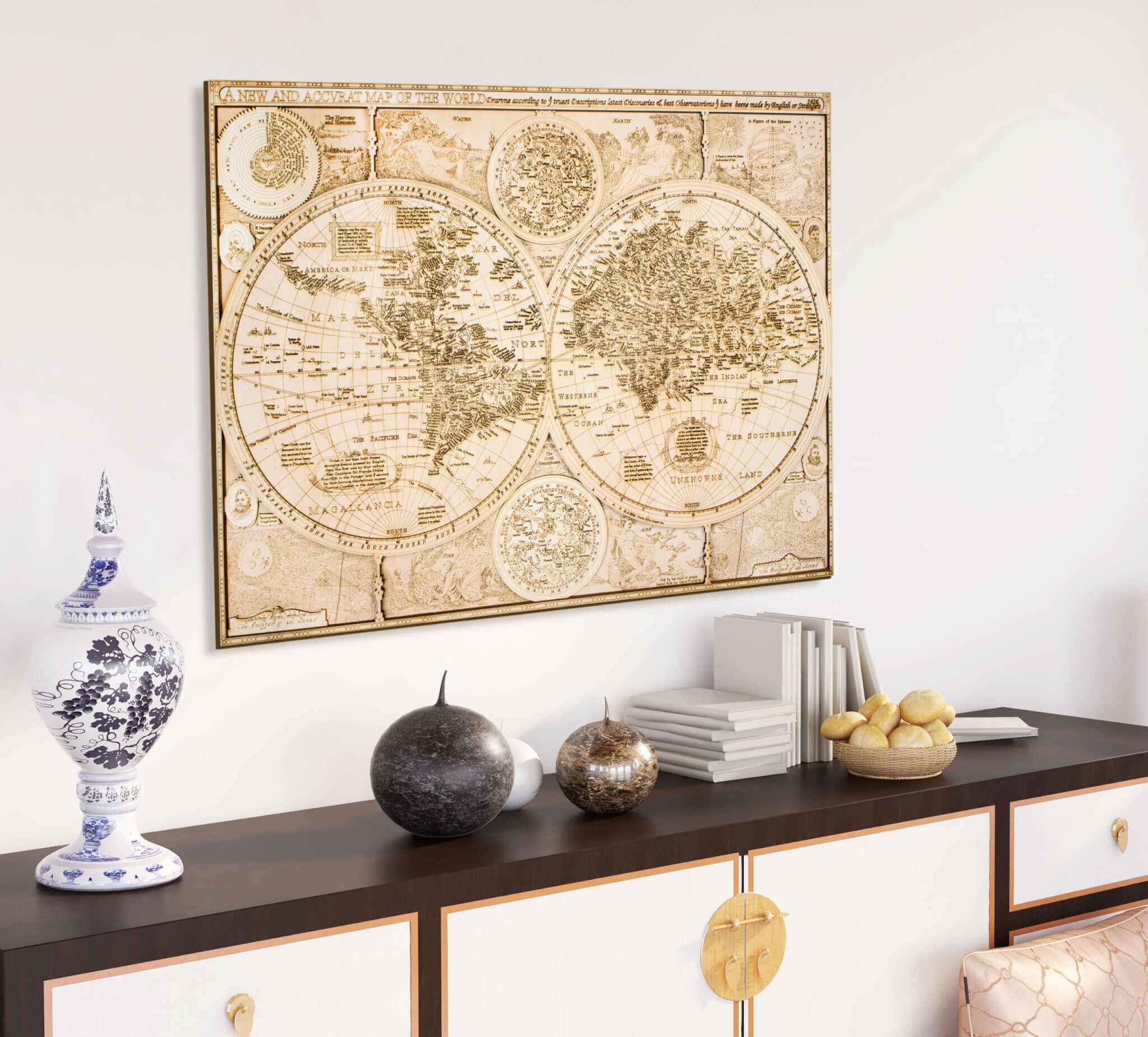 Historická dřevěná mapa světa - z roku 1626