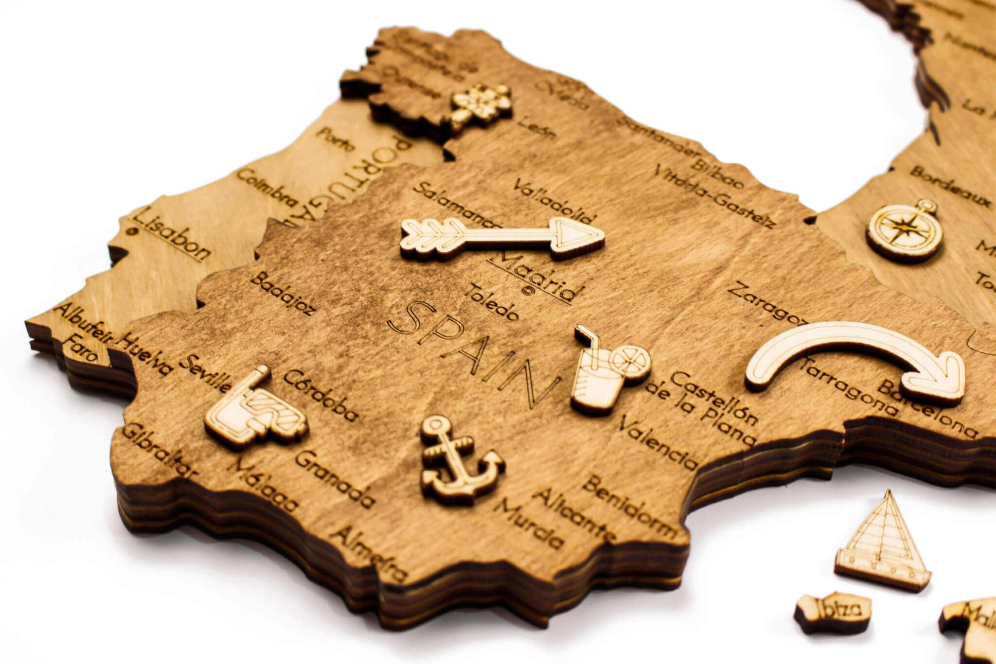 Dřevěná mapa Evropy