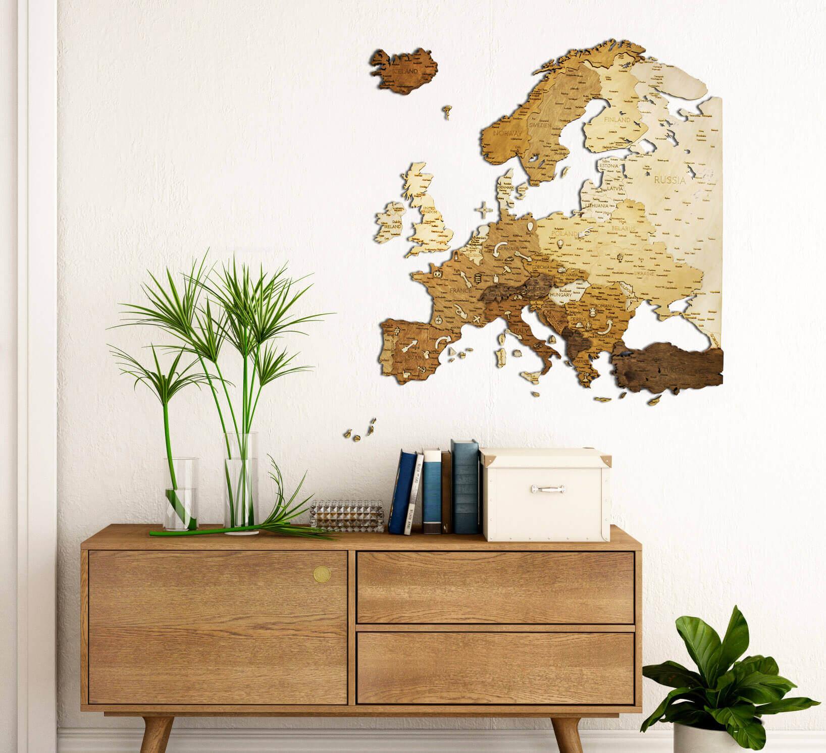 Dřevěná mapa Evropy - nástěnná dekorace