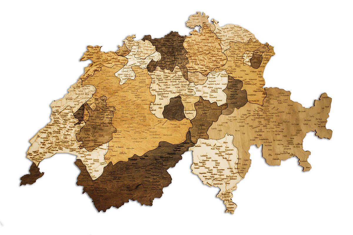 Dřevěná mapa Švýcarska