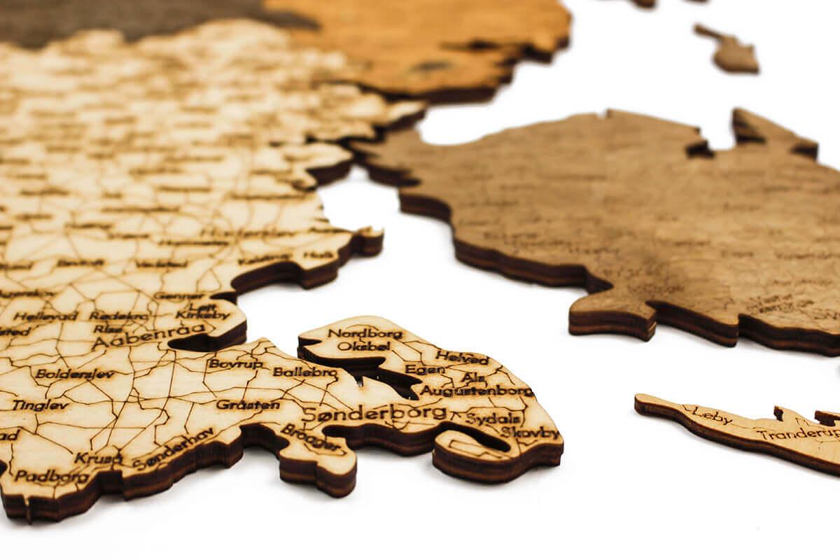 Dřevěná mapa Dánska