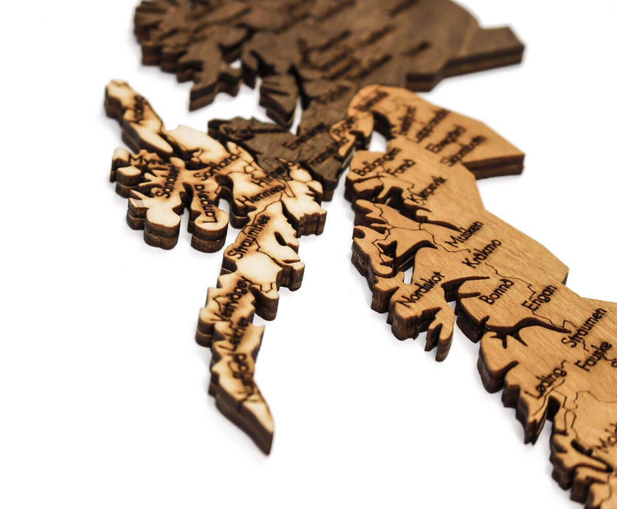 Dřevěná mapa Norska