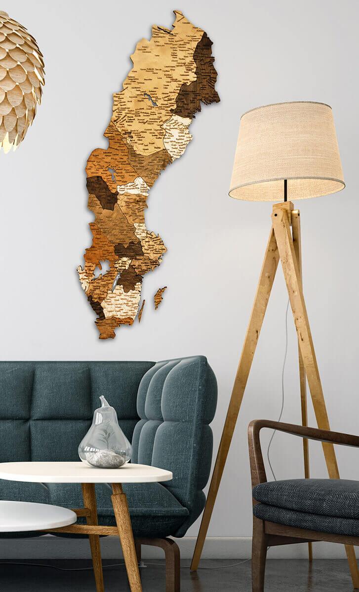 Dřevěná mapa Švédska