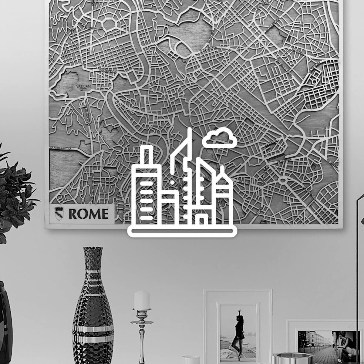 3D dřevěné mapy měst