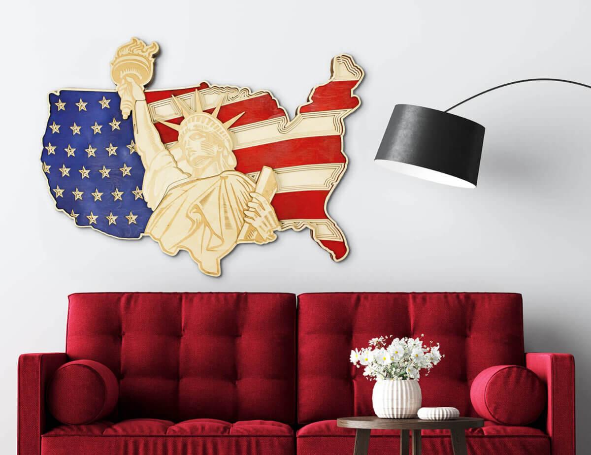 Socha svobody a mapa USA