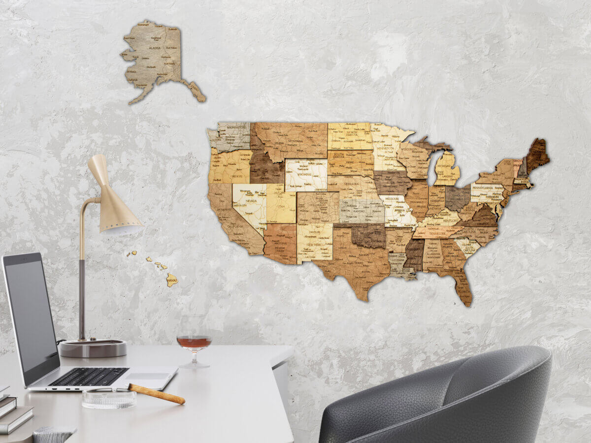 Dřevěná mapa USA